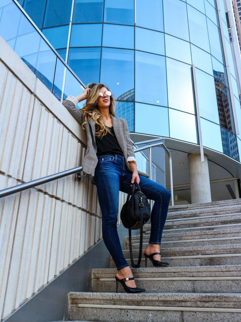 What to do if you're unemployed | Running in Heels | Business casual look with plaid blazer, jeans, and patent leather mules with Alexander Wang Rockie duffle bag.