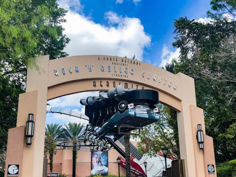 Adult Guide to Disney World Theme Parks Broken Down by Park | Running in Heels | Entrance to the Aerosmith Rock 'N' Roller Coaster in Hollywood Studios in Disney World.