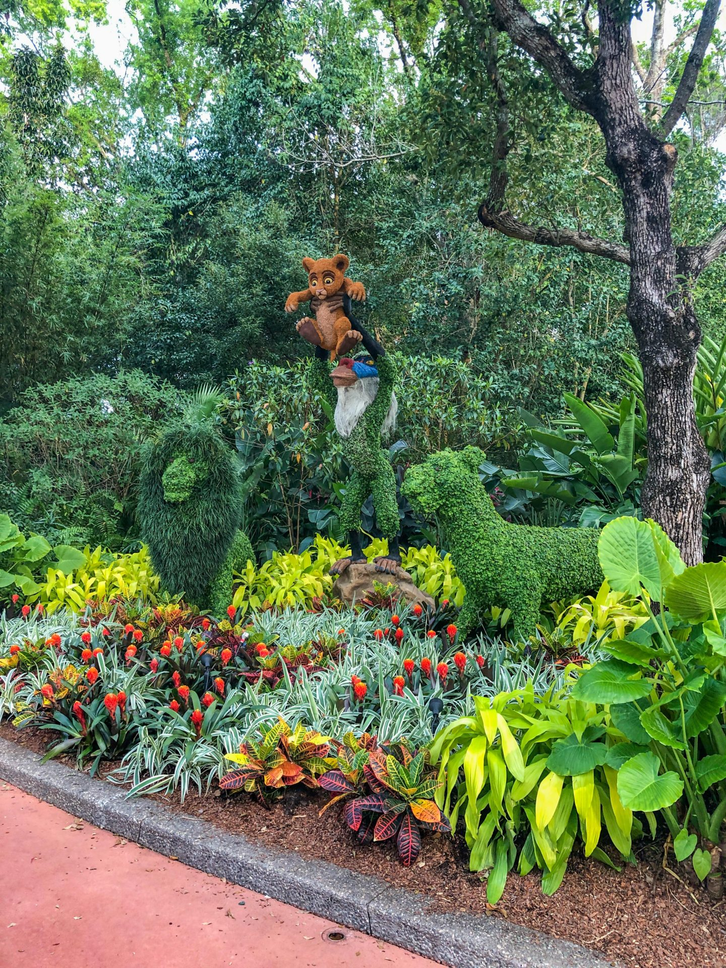 Adult Guide to Disney World Theme Parks Broken Down by Park | Running in Heels | Lion King topiaries in Epcot for the Epcot Flower & Garden Festival at Disney World.