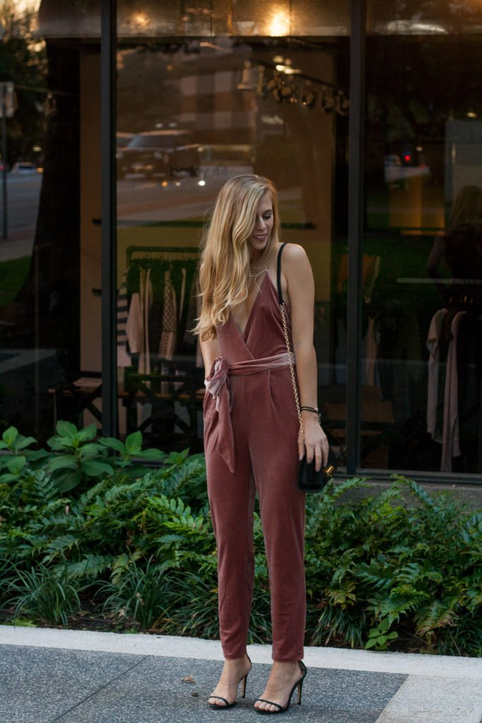 The Pink Velvet Jumpsuit Every Girl Needs in Her Closet This Fall | Running in Heels