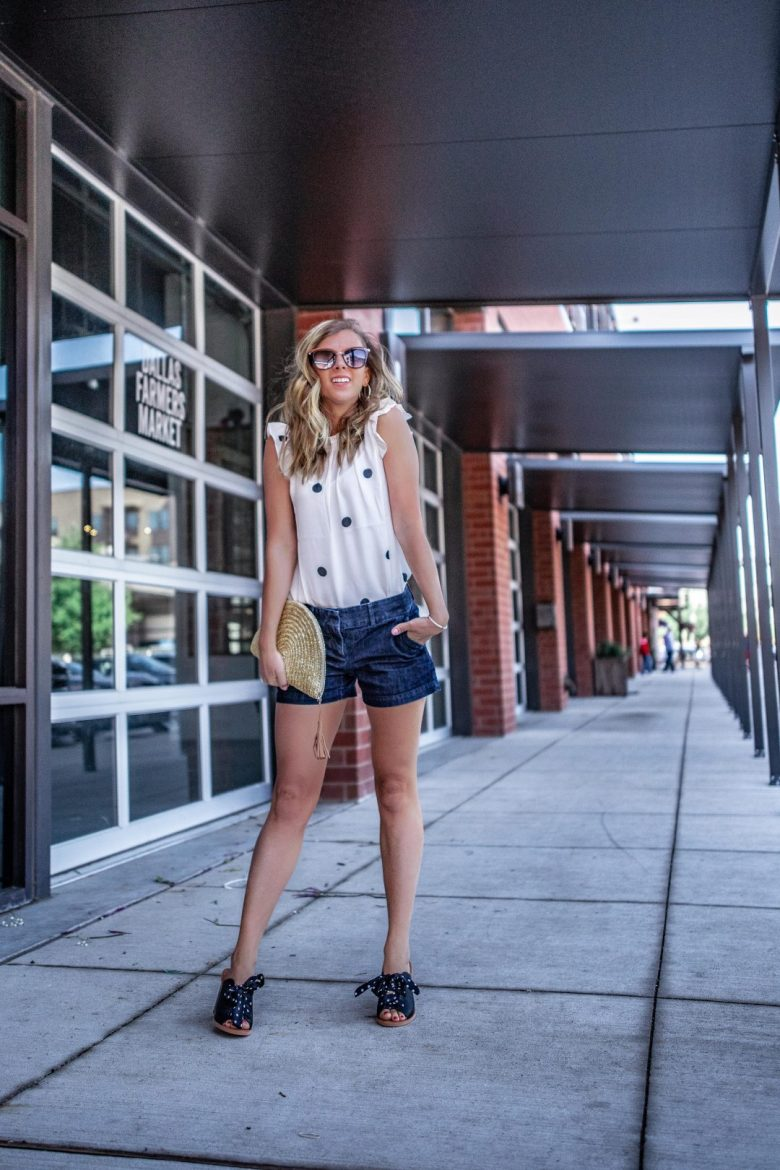 Sale Shopping: Where to Get the Best Deals | Running in Heels | Loft styled outfit for spring. Wearing a white polka dot blouse with denim shorts, a straw clutch, and black mules!