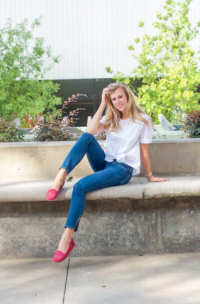 Pop of Pink Flats  | Running in Heels