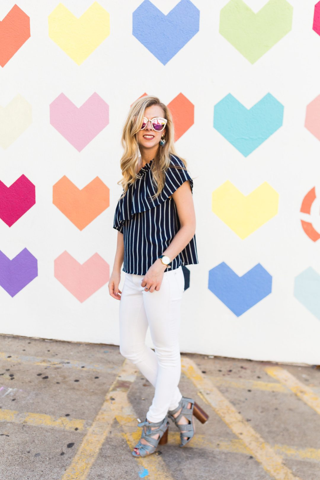 Seeing Hearts in My Striped One Shoulder Top