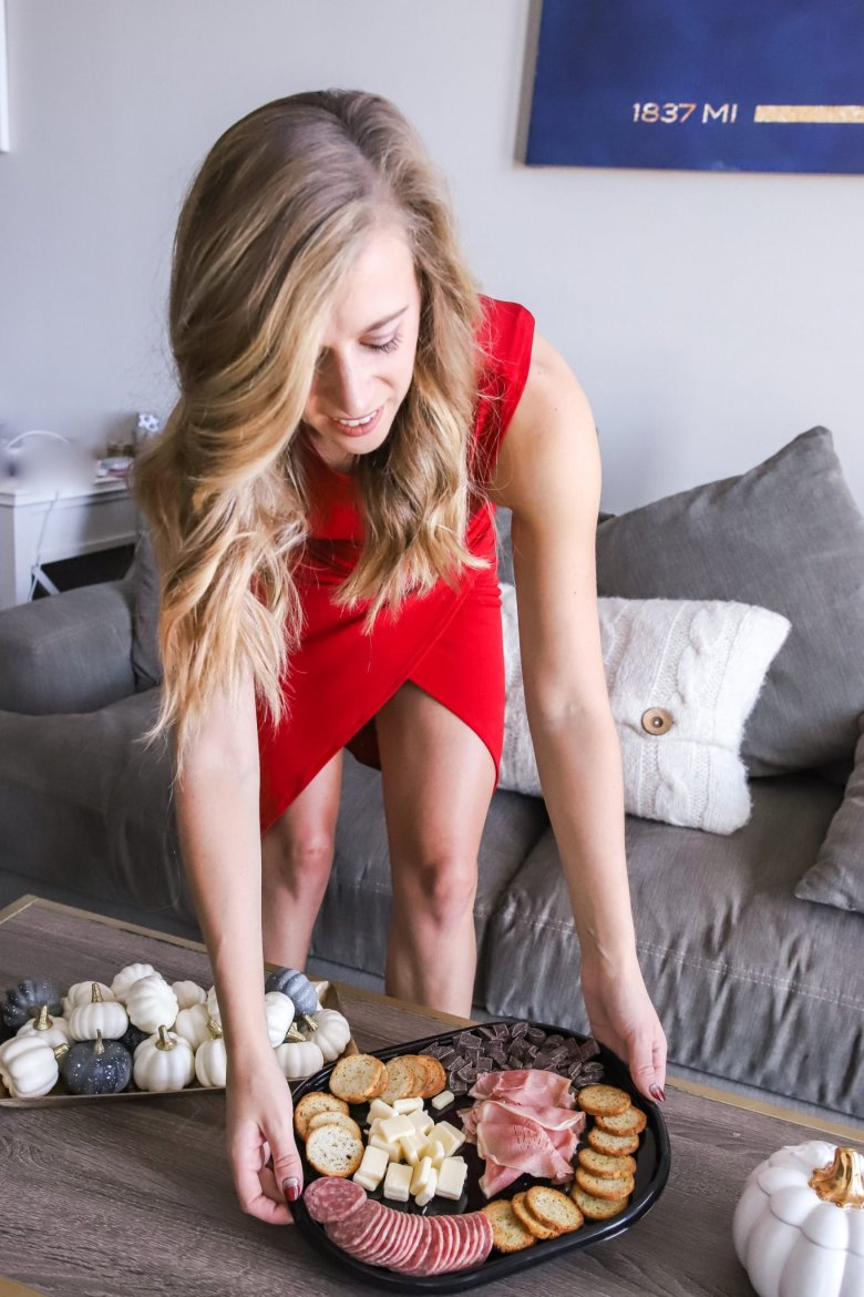 Hosting Tips for the Best Friends Holiday Party, try a Hillshire Farm snacking platter for your friends. Feature by top US fashion and lifestyle blogger Running in Heels