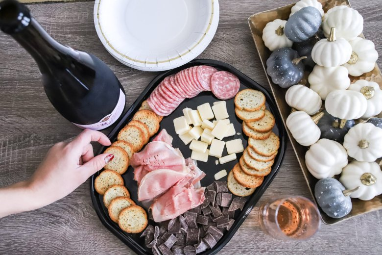 Hosting Tips for the Best Friends Holiday Party, try a Hillshire Farm snacking platter. Feature by top US fashion and lifestyle blogger Running in Heels