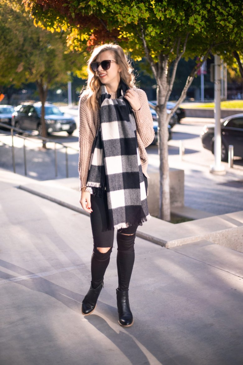 How to Tie a Blanket Scarf, tips featured by top US fashion blog, Running in Heels: flat knot