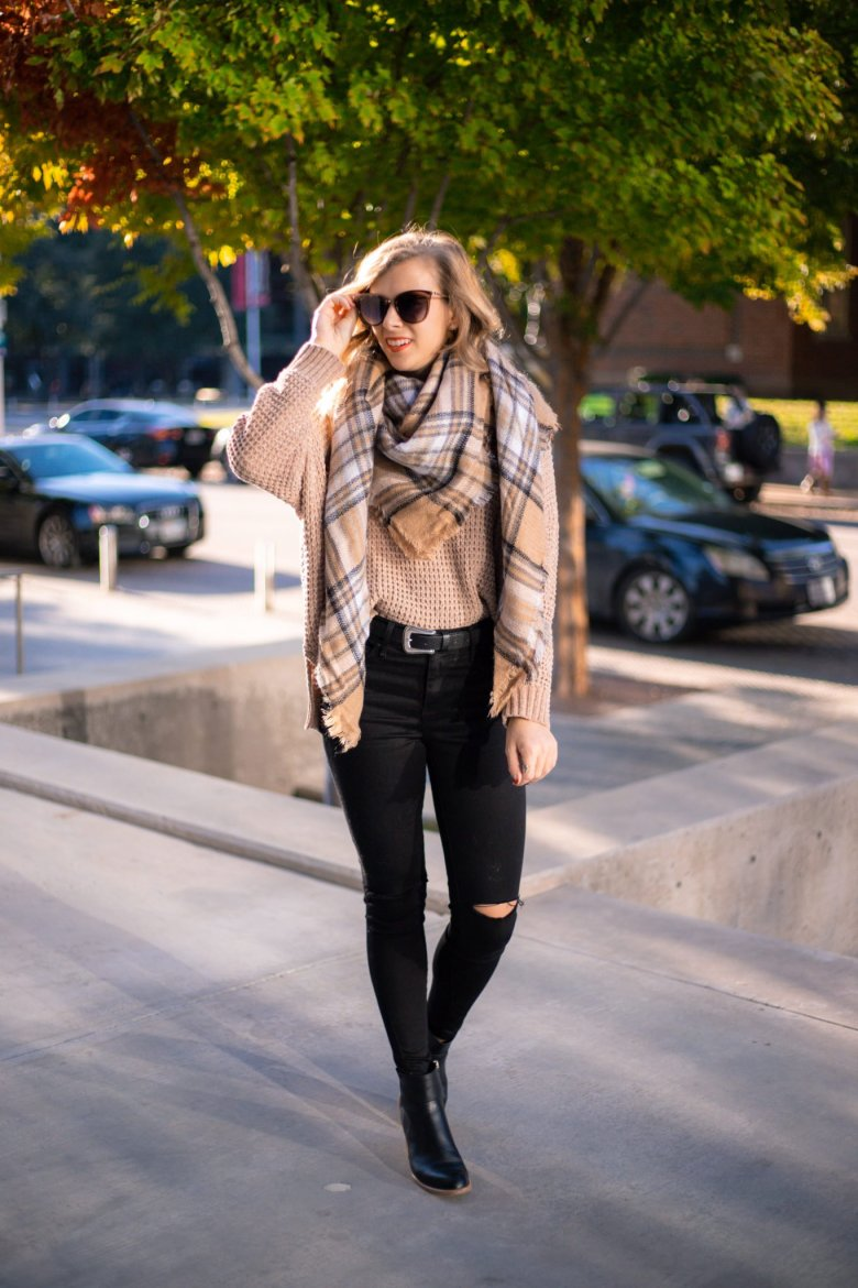 How to Tie a Blanket Scarf, tips featured by top US fashion blog, Running in Heels: three point triangle
