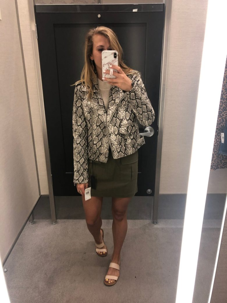 What NOT to Buy from the 2019 Nordstrom Anniversary Sale featured by top US fashion blog, Running in Heels- image of a woman wearing a snakeskin print jacket