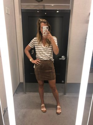 Basics to buy from the Nordstrom Anniversary Sale, featured by top US fashion blog, Running in Heels: image of a woman wearing a BP tee and suede skirt.