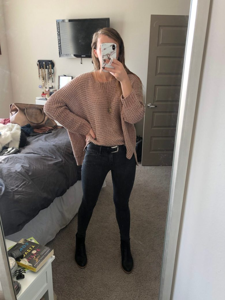 Everyday Outfits | What I Wore 12.1-12.7 | Outfit showing tan chenille sweater by Altar'd State, gray jeans from Mott and Bow, and black leather Italeau booties featured by top US fashion blogger Running in Heels