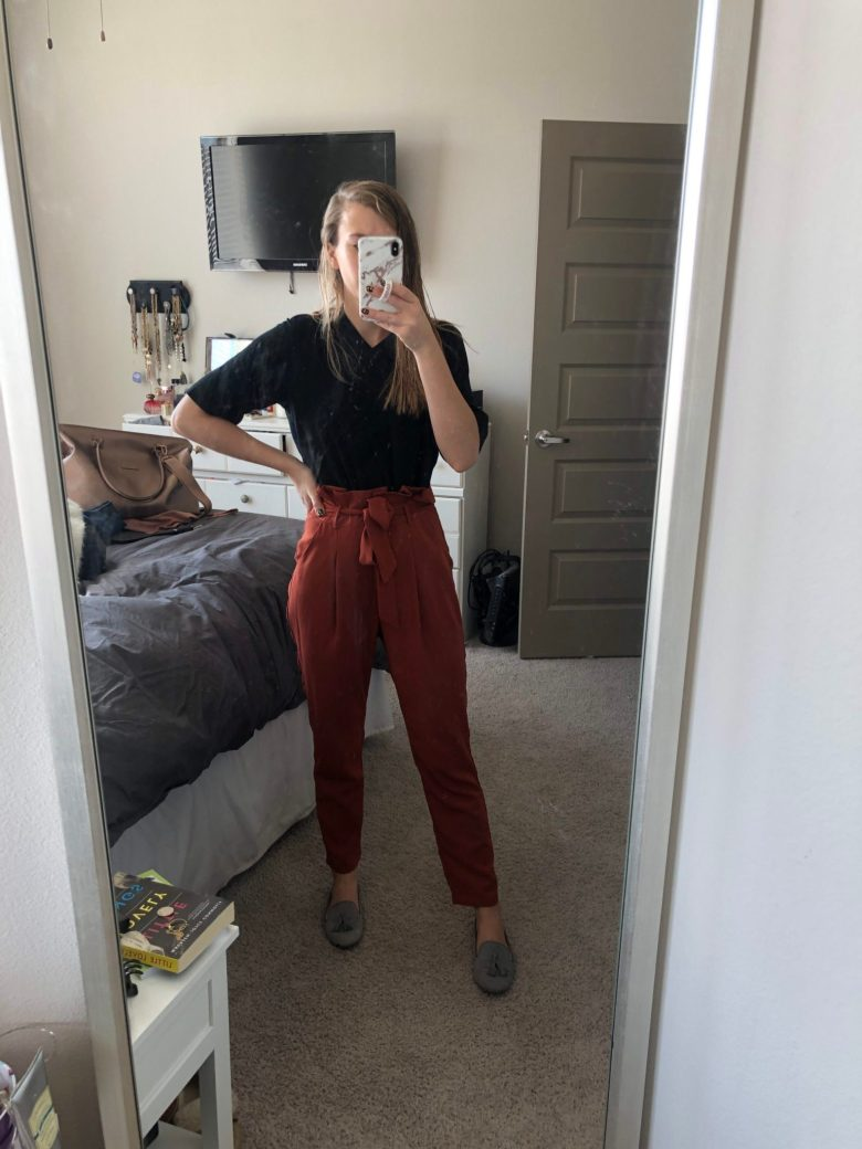 Everyday Outfits | What I Wore 12.1-12.7 featuring BLDWN t-shirt and orange paper bag waist pants from Shein, and gray loafers on top US fashion blogger Running in Heels