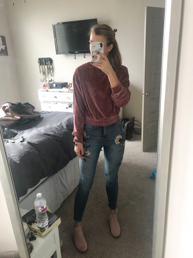 Everyday Outfits | What I Wore 12.8-12.14 | Outfit showing ribbed pink velvet top from Shein, and embroidered denim, with pink booties featured by top US fashion blogger Running in Heels