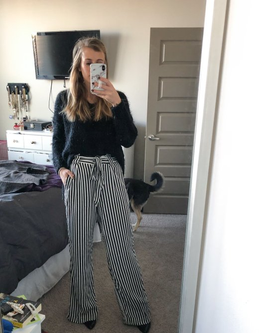 Striped pants from express, paired with a black Altar'd State eyelash sweater