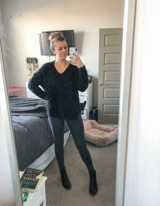 Monday Outfit, Everyday Outfits by top US life and style blogger, Running in Heels. Wearing Altar'd State eyelash sweater, gray Mott and Bow jeans, and black leather booties.