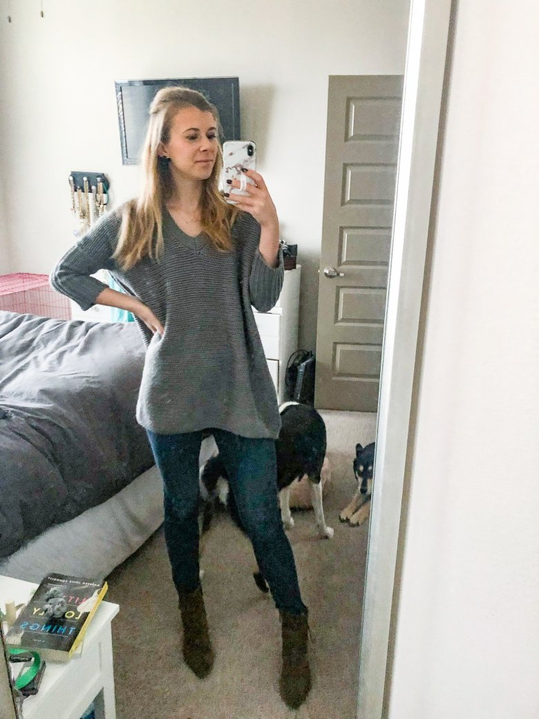 Everyday Outfits by top US life and style blogger, Running in Heels. Wearing a grey tunic sweater, jeans, and Italeau Donata booties.