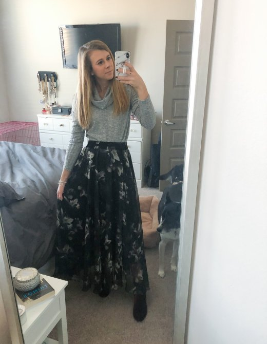 Nordstrom BP cowl neck sweater with a black floral maxi skirt featured by Top US fashion and lifestyle blogger, Running in Heels.