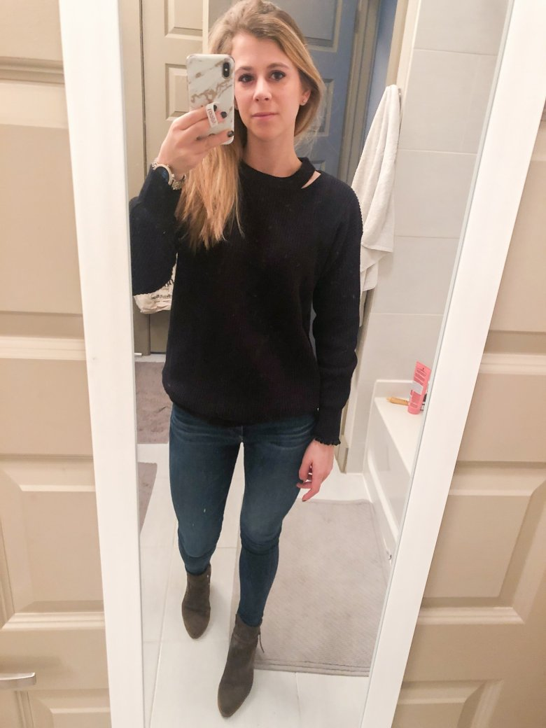Revolve black sweater, jeans, and Italeau booties featured by Top US fashion and lifestyle blogger, Running in Heels.