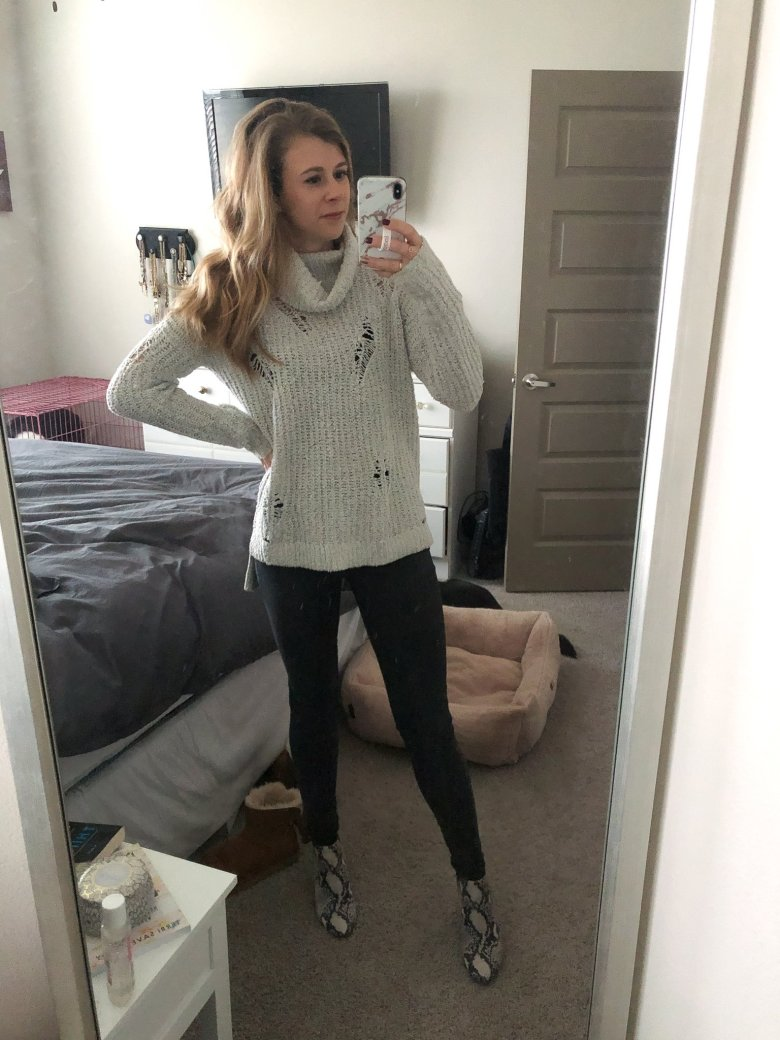 Express turtleneck sweater, gray Mott and Bow jeans, and Steve Madden snakeskin booties featured by Top US fashion and lifestyle blogger, Running in Heels.