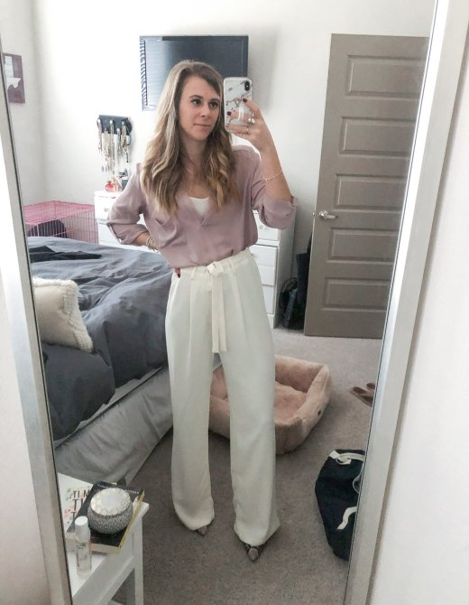 Lush blouse from Nordstrom, white/cream work pants from Target, and snakeskin pumps by Sam Edelman featured by Top US life and style blogger Running in Heels.
