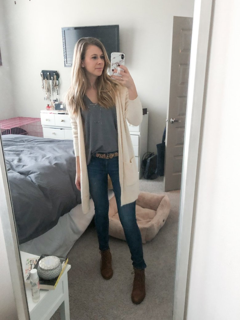Nordstrom eyelash sweater, tank, snakeskin belt, and J Brand jeans paired with DSW White Mountain booties featured by Top US life and style blogger Running in Heels.