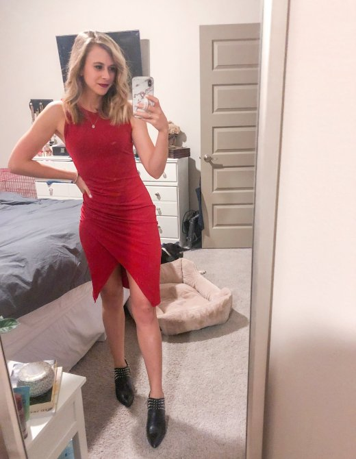 Red bodycon dress from Nordstrom paired with black spiked booties for Valentine's Day!