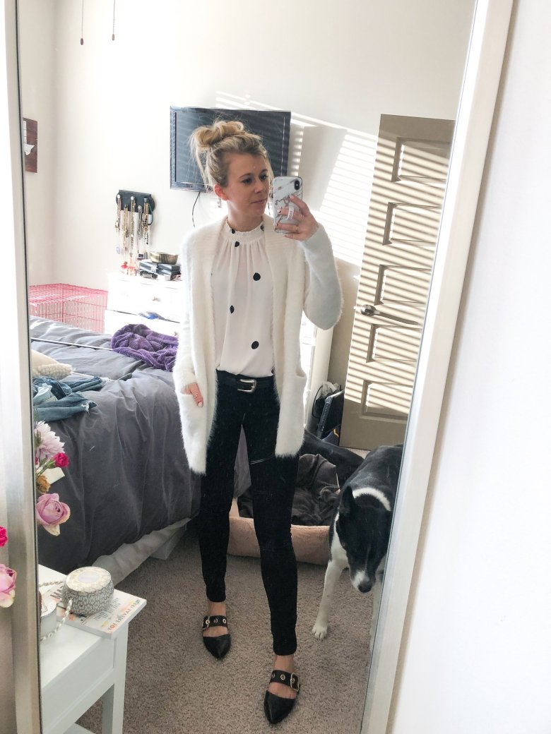 Top US fashion and lifestyle blogger, Running in Heels wears fluffy white Banana Republic sweater with DL 1961 black jeans, B Low the Belt, and Bleaker & Bond flats mules.