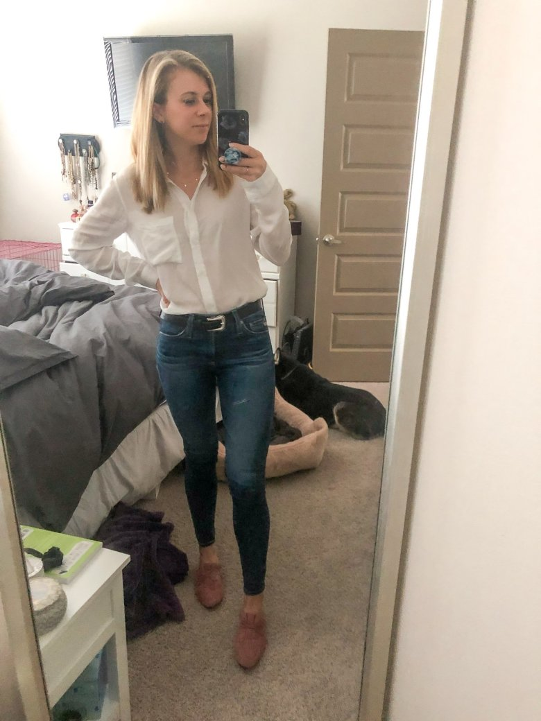 Top US fashion and lifestyle blogger, Running in Heels wears classic white button up shirt, JBrand Jeans, pink Splendid Mules, and B Low the Belt.