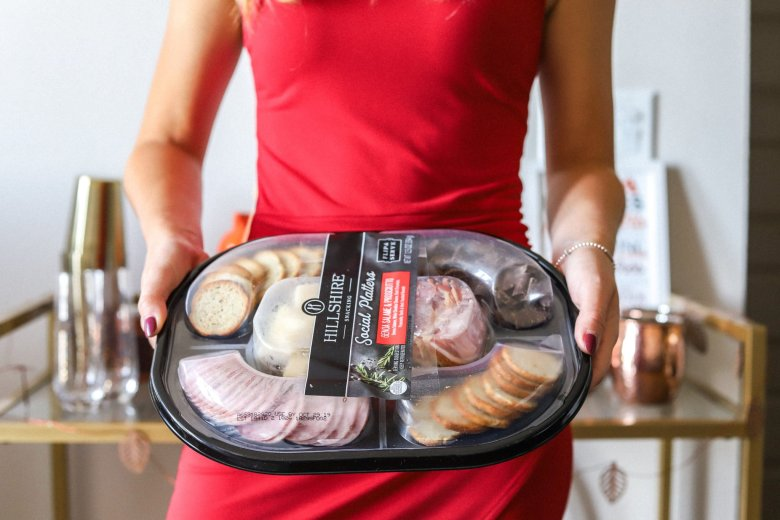 Hosting Tips for the Best Friends Holiday Party, try a Hillshire Farm snacking platter feature by top US fashion and lifestyle blogger Running in Heels
