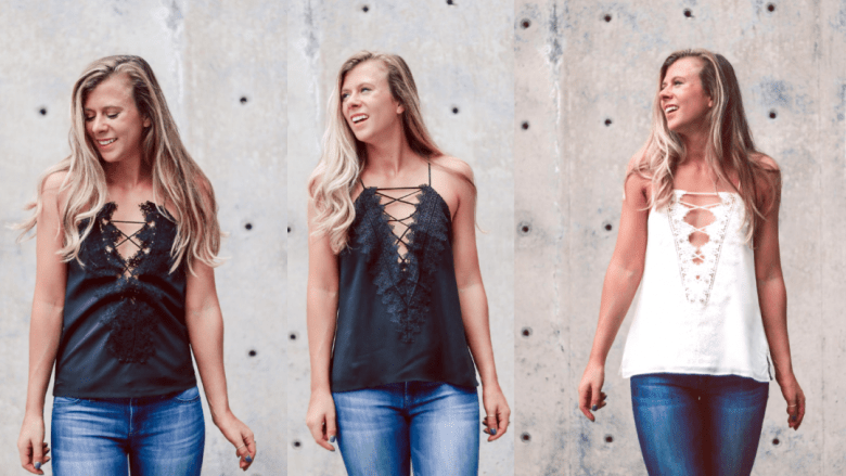 Lace Up Cami Comparison featured by top US fashion blog, Running in Heels: image of a blonde woman wearing 3 different lace-up camis from Amazon, WAYF and Cami NYC