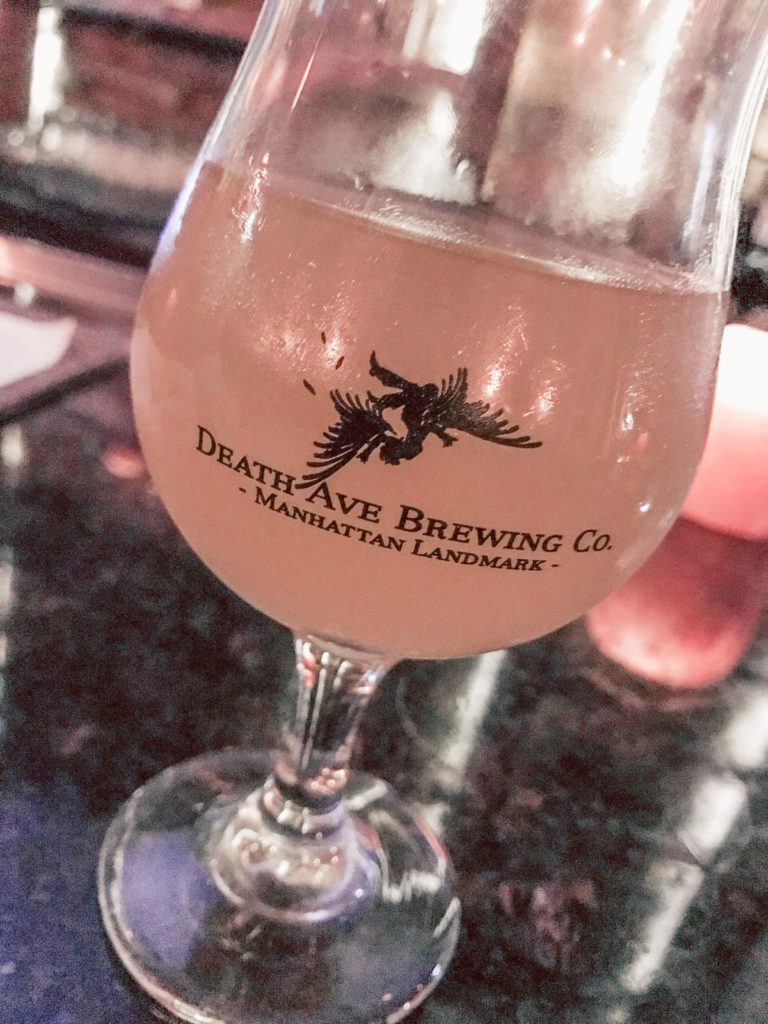 Where to eat in NYC featured by top US travel blog, Running in Heels: image of beer from Death Ave Brewing Co.
