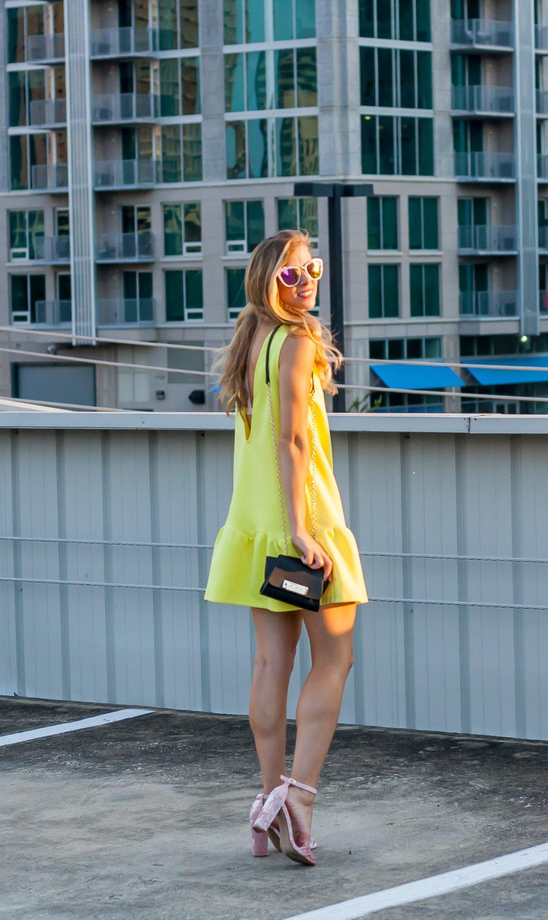 Yellow Drop Waist Dress
