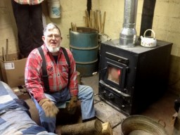 Dad by the Wood Stove