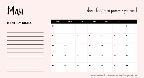 May 2020 Mental Health Calendar