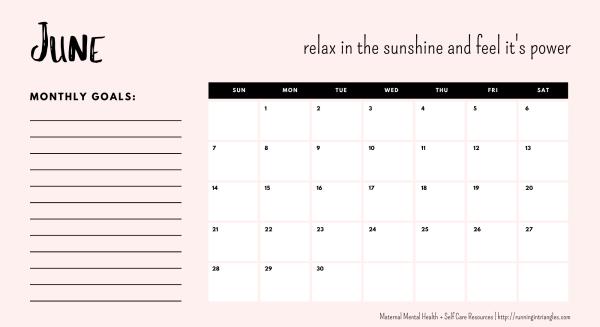 June 2020 Mental Health Calendar