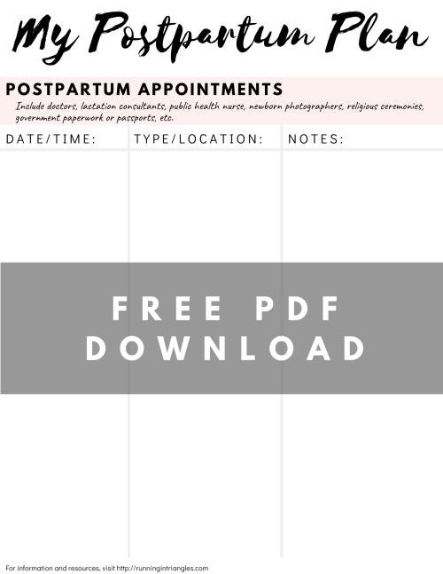 Postpartum Appointment Tracker