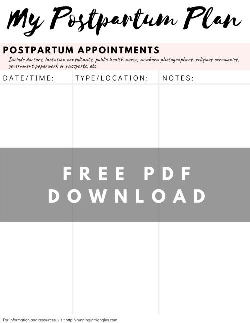 Postpartum Appointment Tracker