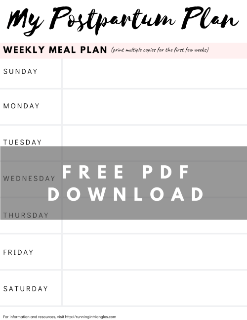 Postpartum Meal Plan