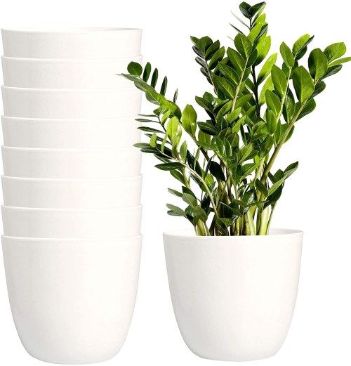 8 Pack Plastic Plant Pots with Drainage Holes