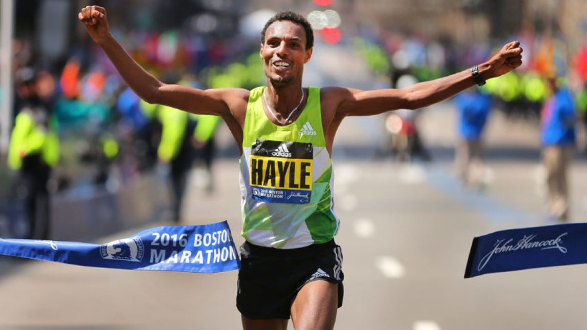 Boston-4/18/16- The finish line at the Boston Marathon. Mens  winner  Lemi Berhanu Hayle crosses the finish line.Boston Globe staff Photo by John Tlumacki (sports)