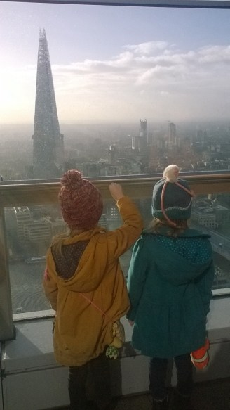 Looking out at The Shard and South London
