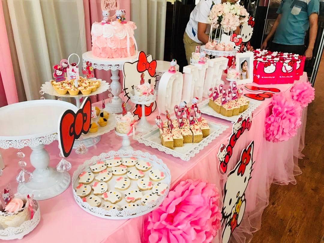 runningmen catering baby shower event footage with photo booth hello kitty dessert bar