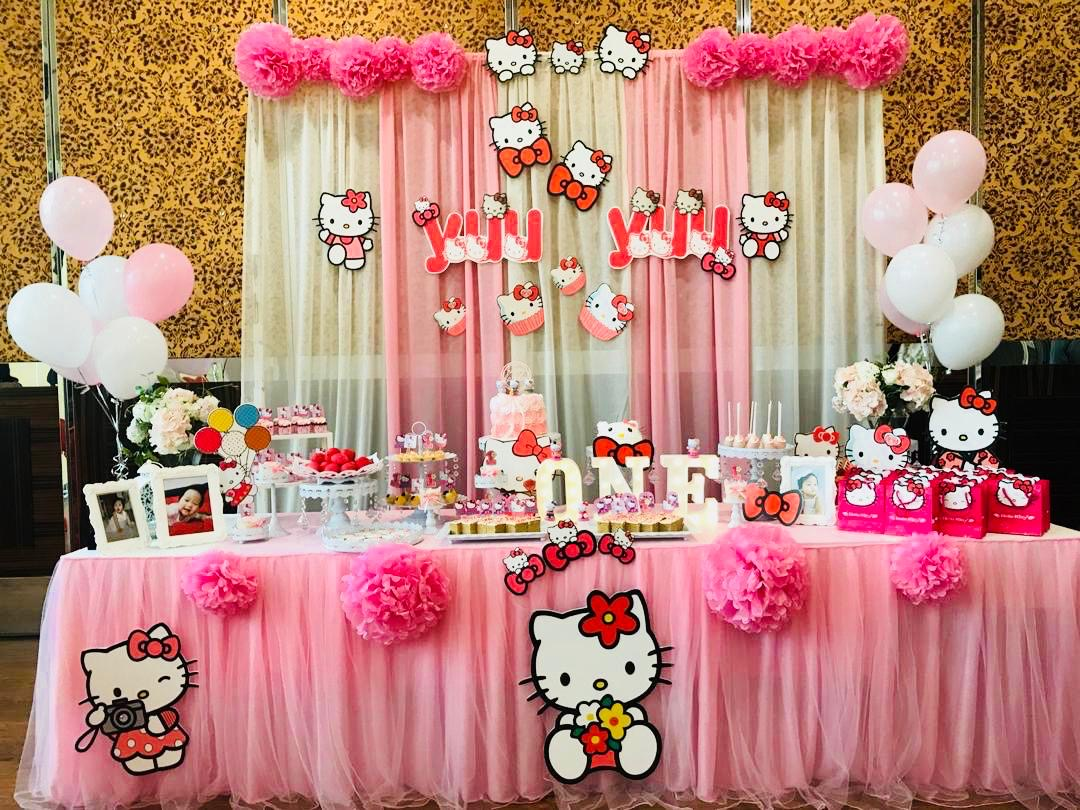 runningmen catering baby shower event footage with beautiful hello kitty backdrop decoration