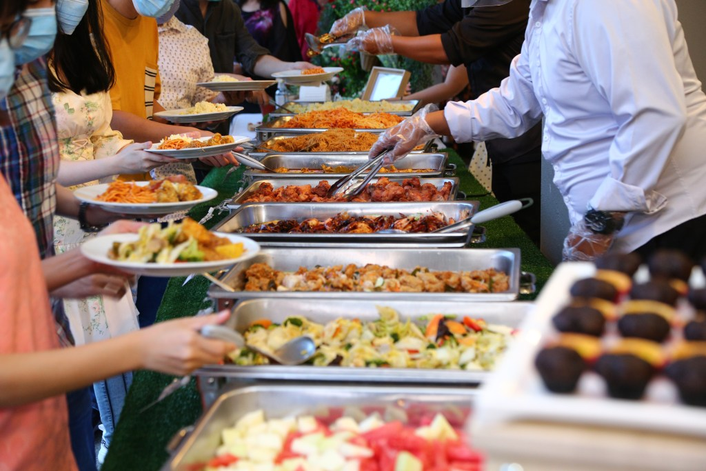 runningmen catering buffet line and catering setup