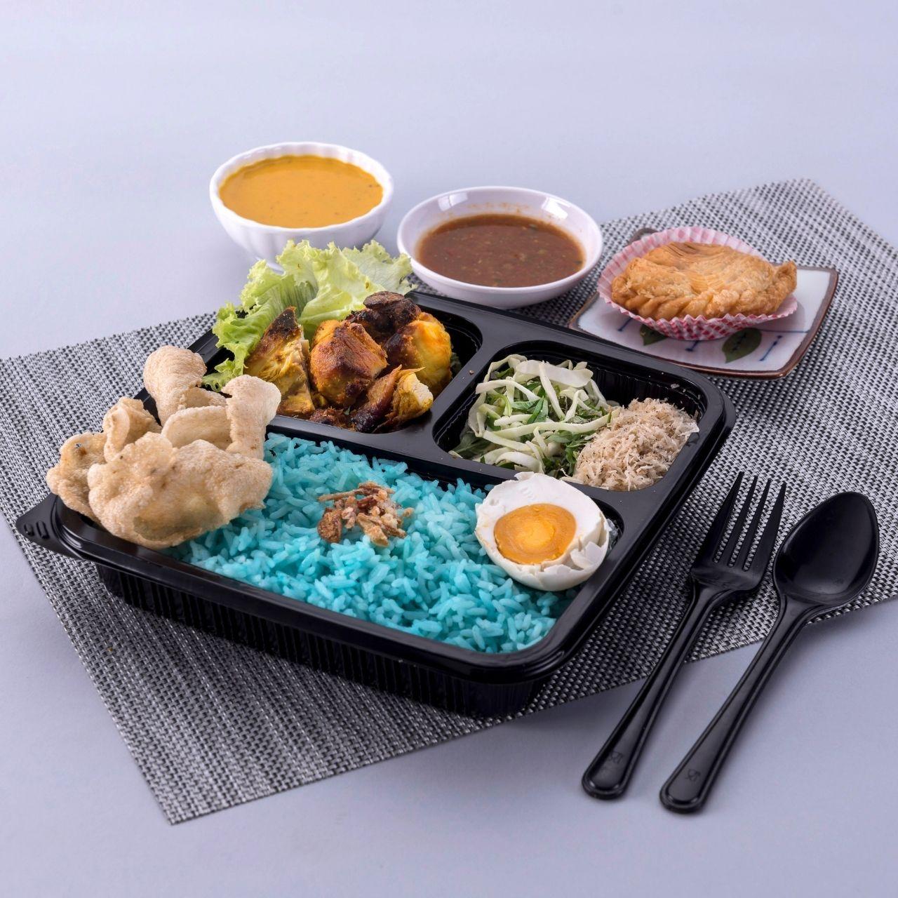 runningmen catering bento box nasi kerabu sambal with ayam percik
