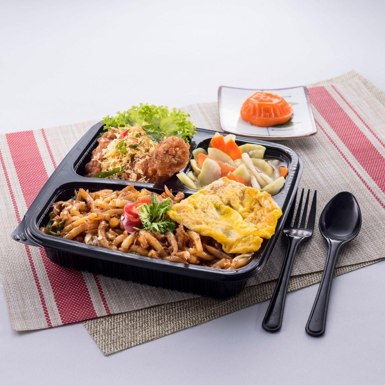 runningmen catering bento box fried lou xu fan with fried butter chicken