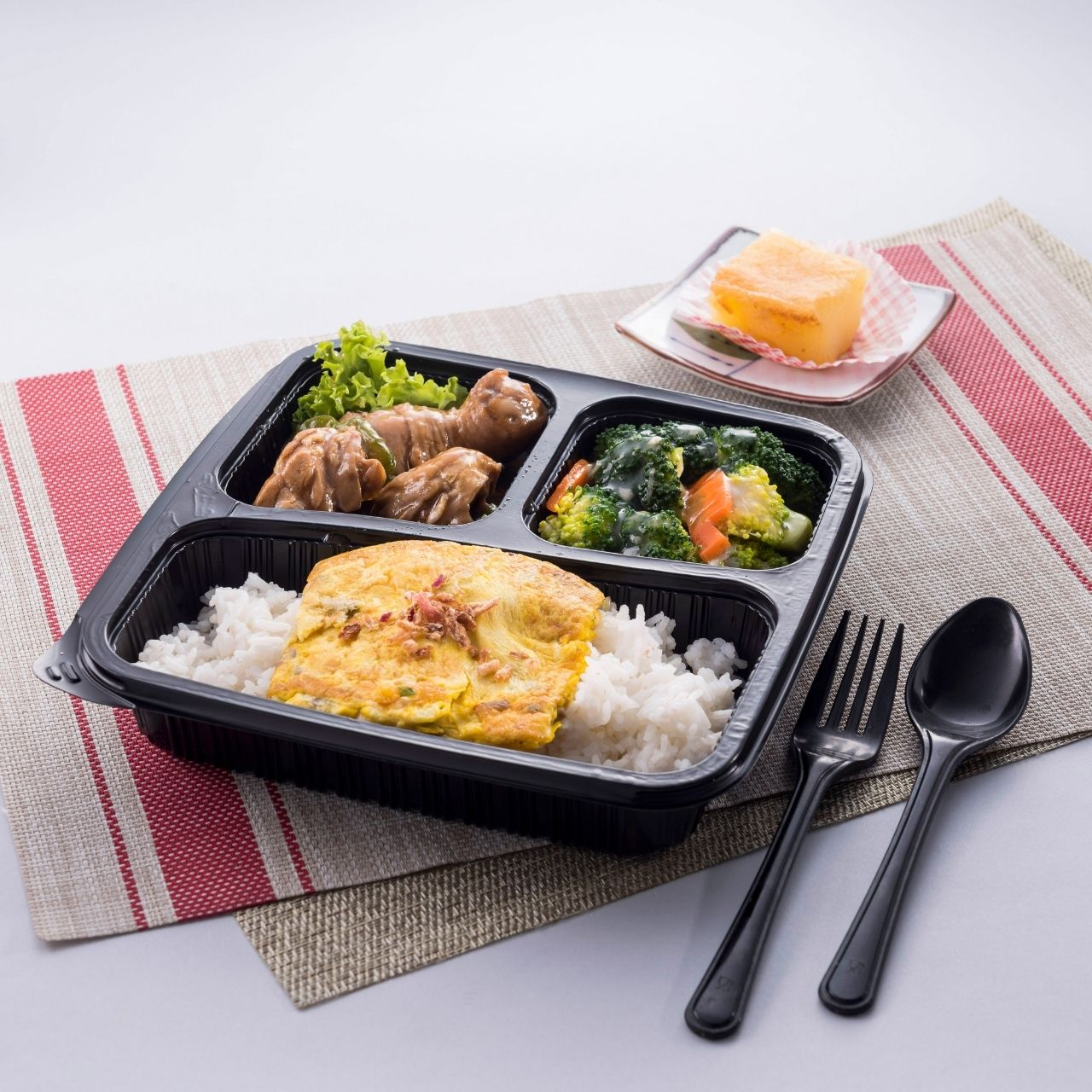 runningmen catering bento box steam rice with egg sauce bittergourd chicken