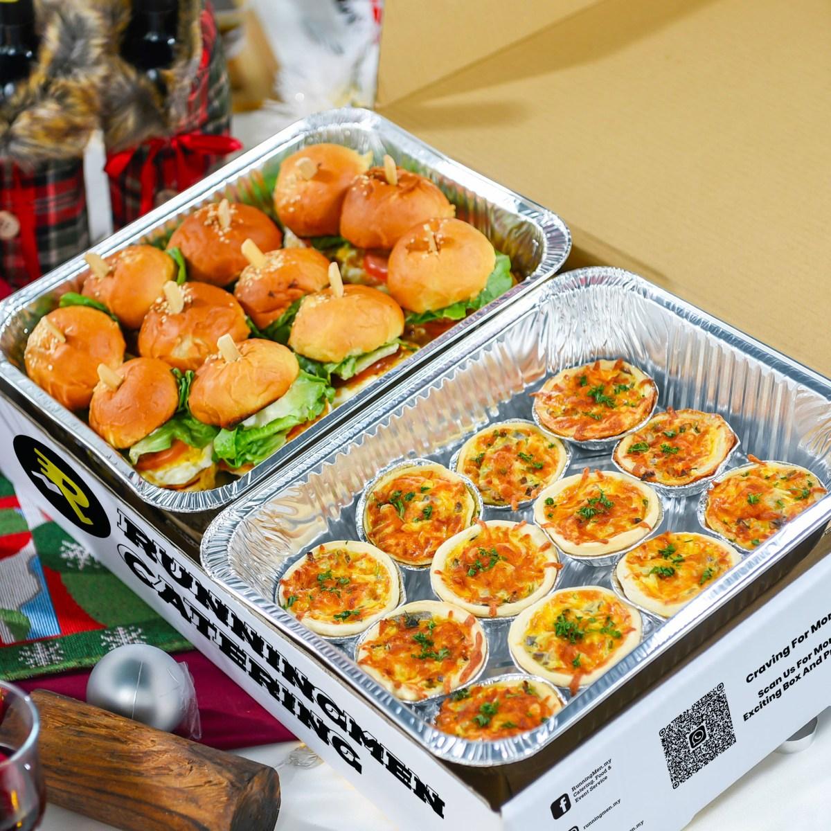runningmen catering christmas 2020 cheese tart and mini burger