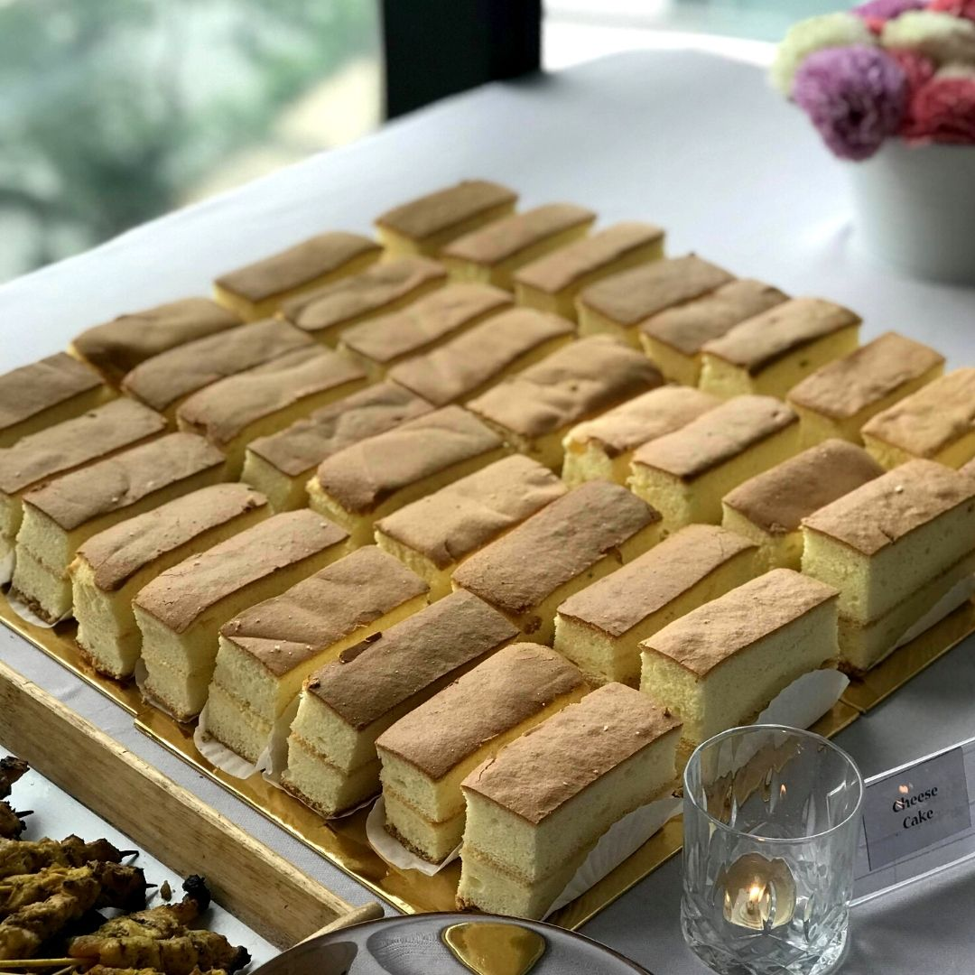 runningmen catering buffet food dish butter cake