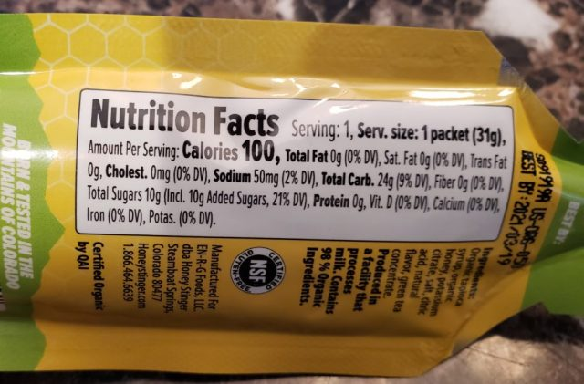 Honey Stinger Gel Nutrition Facts
