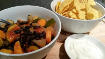 ratatouille as base for black bean chilli